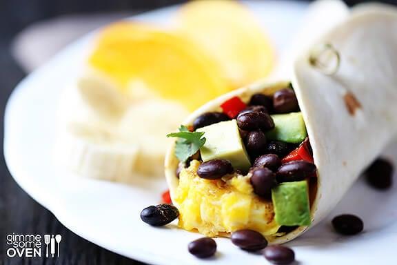 Black Bean and Avocado Breakfast Burritos   gimmesomeoven.com