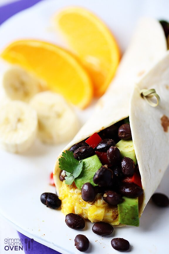 Black Bean and Avocado Breakfast Burritos