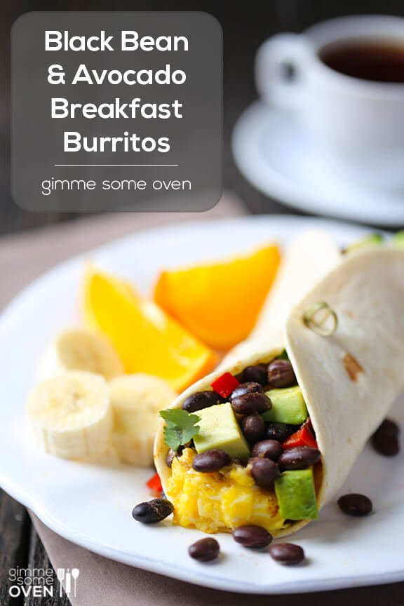 Gimme Some Oven Black Bean and Avocado Breakfast Burritos | Gimme Some Oven