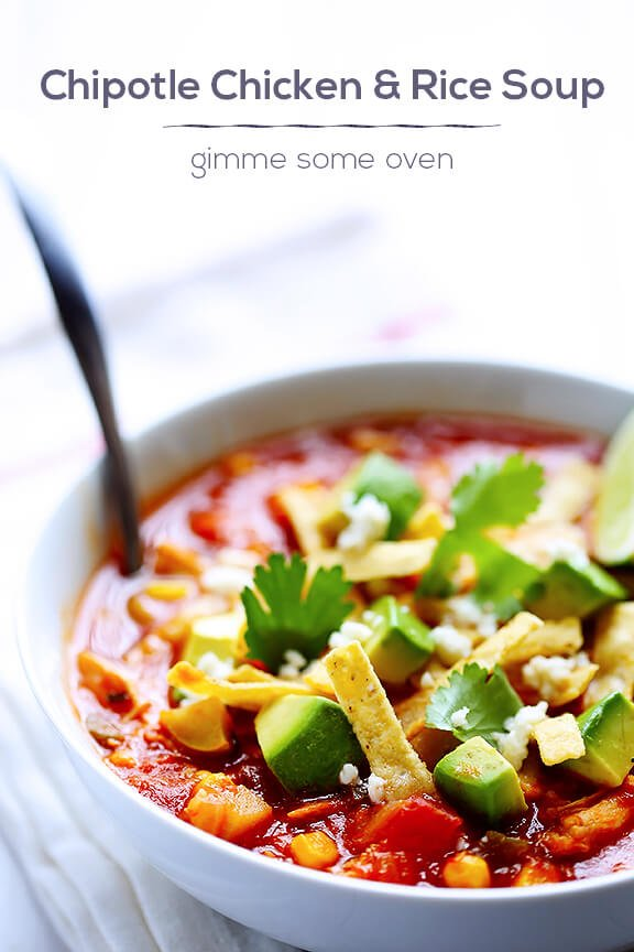 Chipotle Chicken and Rice Soup | gimmesomeoven.com