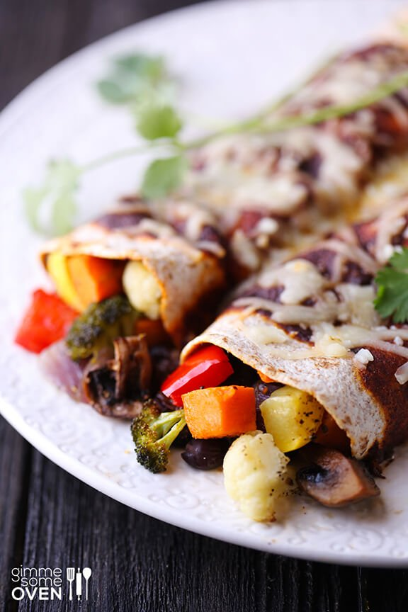 Roasted Vegetable Enchiladas | Gimme Some Oven
