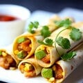 Shrimp, Avocado and Roasted Corn Baked Taquitos | gimmesomeoven.com