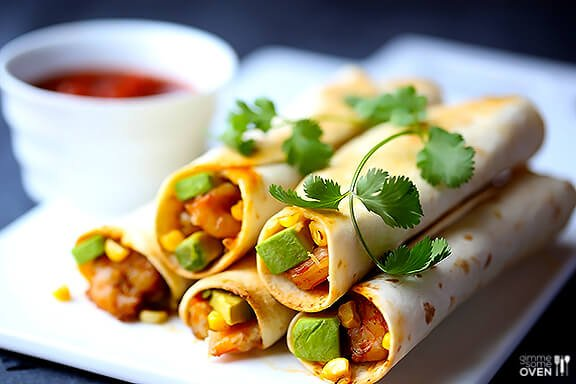 Shrimp, Avocado and Roasted Corn Baked Taquitos {Gimme Some Oven}