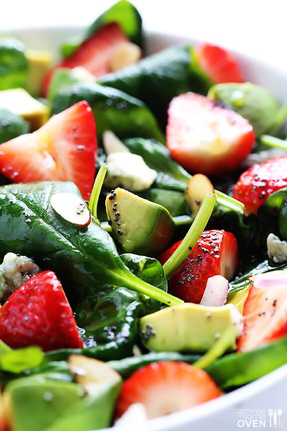 Avocado Strawberry Spinach Salad Recipe | gimmesomeoven.com