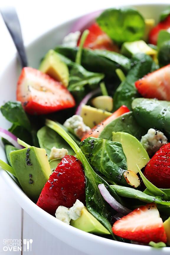 Avocado Strawberry Spinach Salad with Poppyseed