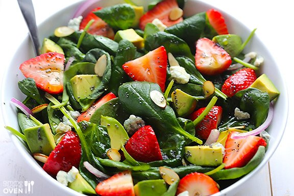 Avocado Strawberry Spinach Salad with Poppyseed Dressing | gimmesomeoven.com 15 Summer Salads #recipe #salad #summerrecipes