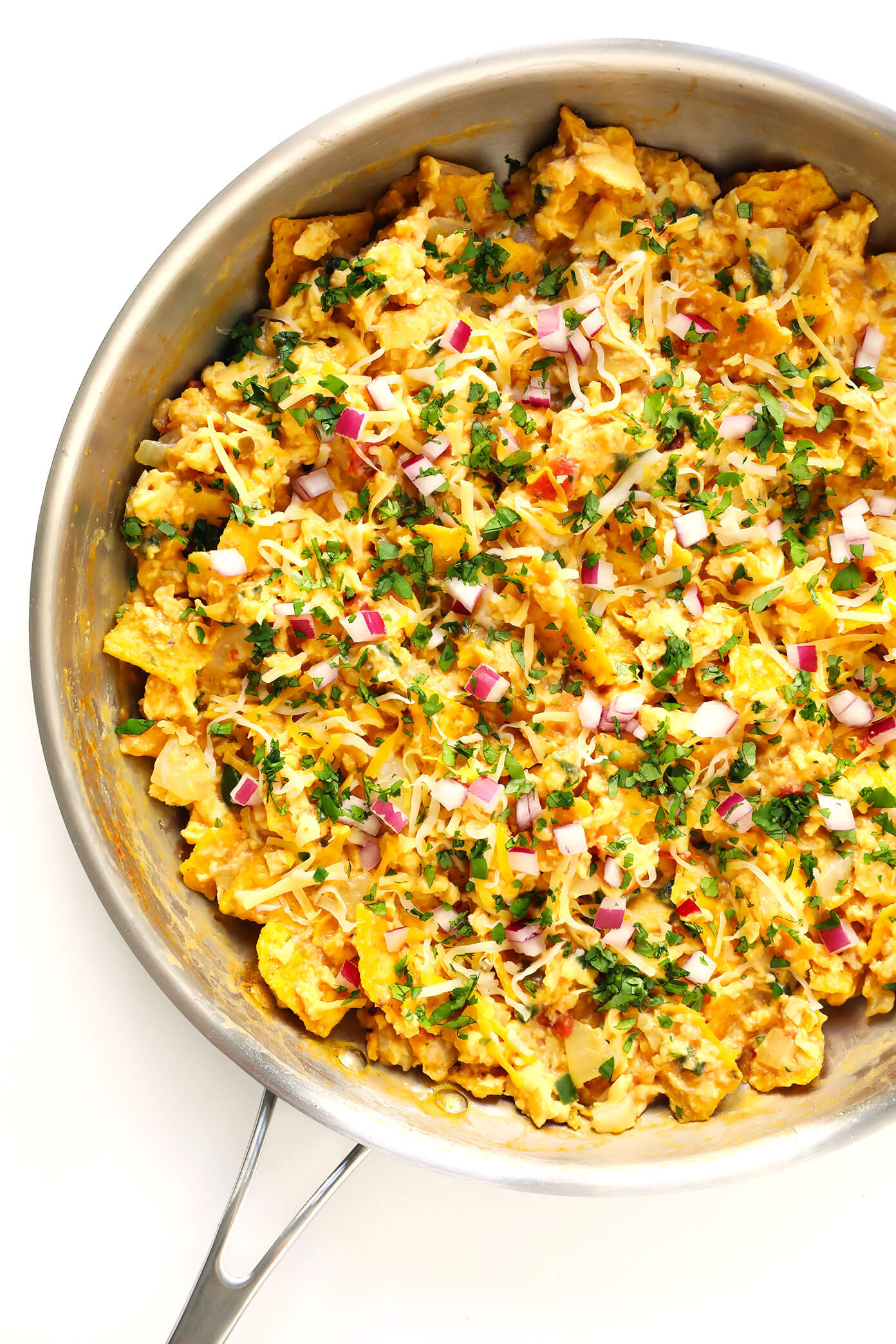 Migas Recipe Ingredients -- eggs, tortilla chips, salsa, and all of your favorite toppings