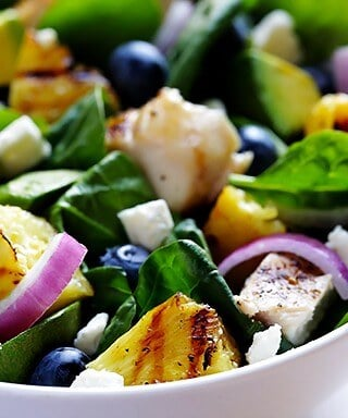 Grilled Pineapple, Chicken & Avocado Salad | gimmesomeoven.com