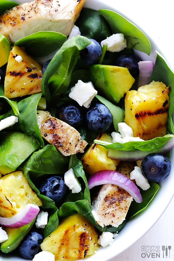 Grilled Pineapple, Chicken & Avocado Salad   gimmesomeoven.com