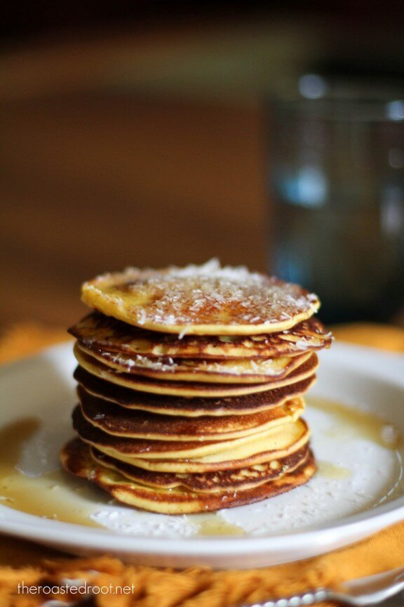 Gluten Free Pina Colada Pancakes   theroastedroot.com