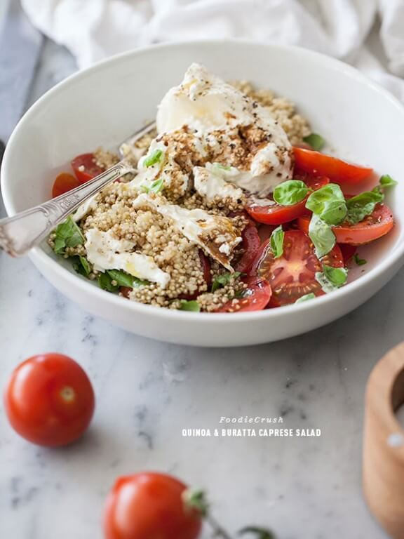 Quinoa and Burrata Caprese Salad | foodiecrush.com