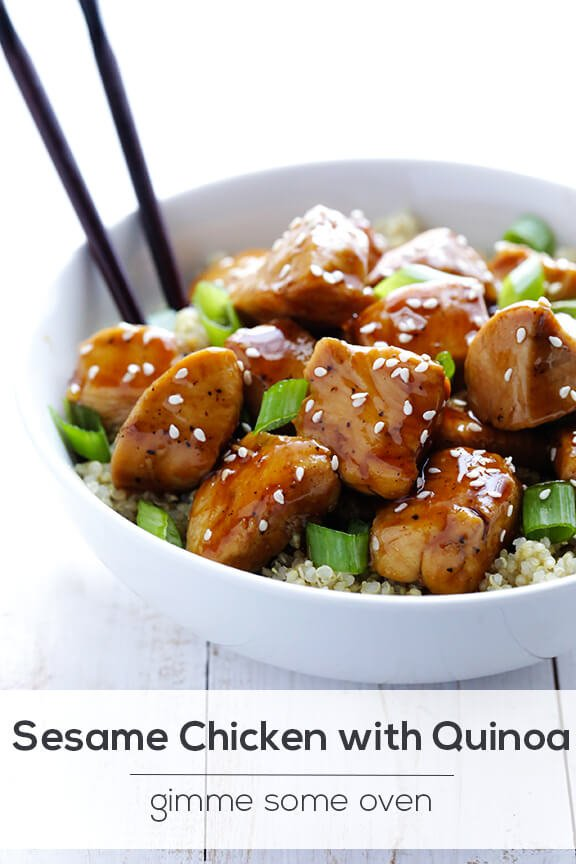Lighter Sesame Chicken with Quinoa | gimmesomeoven.com