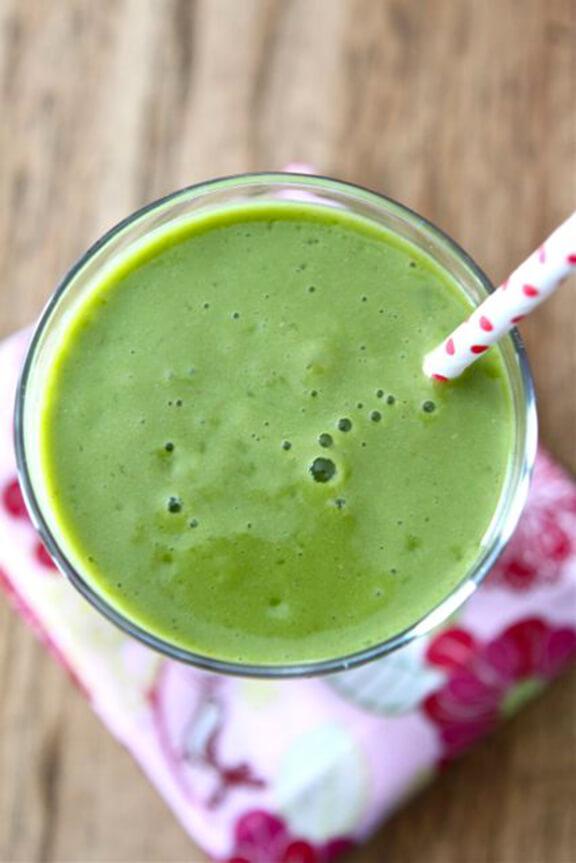 PIneapple Mango Green Smoothie   twopeasandtheirpod.com