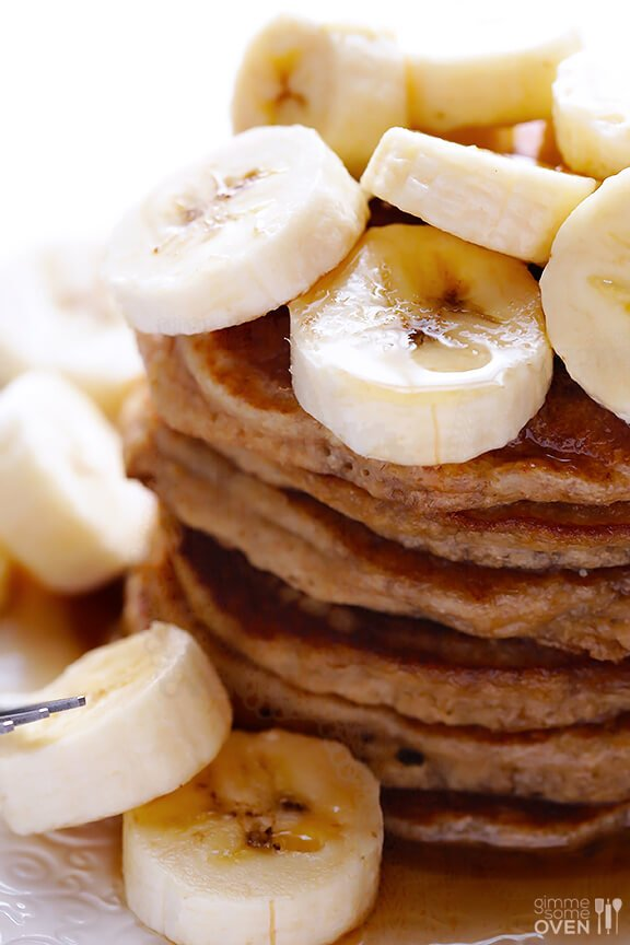 about banana pancakes? They are pretty much like the best of banana ...