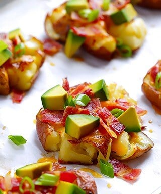 Loaded Smashed Red Potatoes Recipe | gimmesomeoven.com
