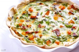 Butternut Squash, Arugula and Bacon Quiche {Gimme Some Oven}