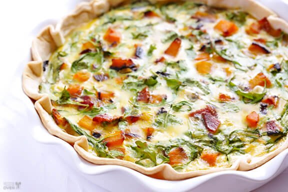 Butternut Squash, Arugula and Bacon Quiche Recipe | gimmesomeoven.com