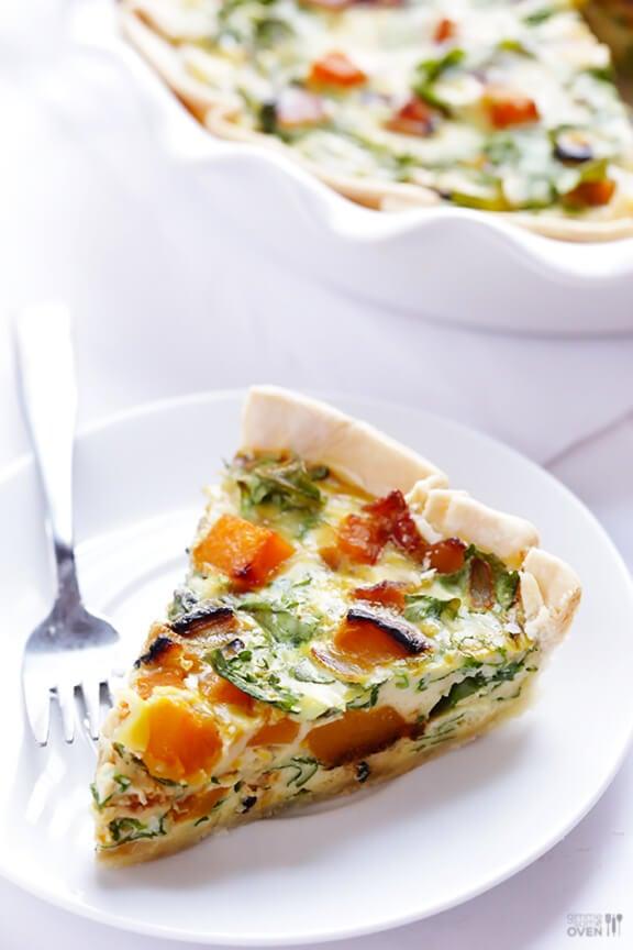 Butternut Squash, Arugula and Bacon Quiche Recipe | gimmesomeoven.com