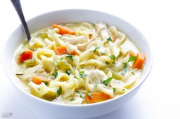(Skinny!) Creamy Chicken Noodle Soup {Gimme Some Oven}
