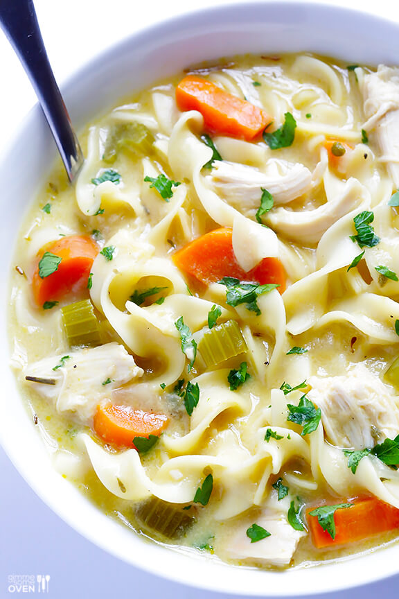 Skinny Creamy Chicken Noodle Soup | gimmesomeoven.com
