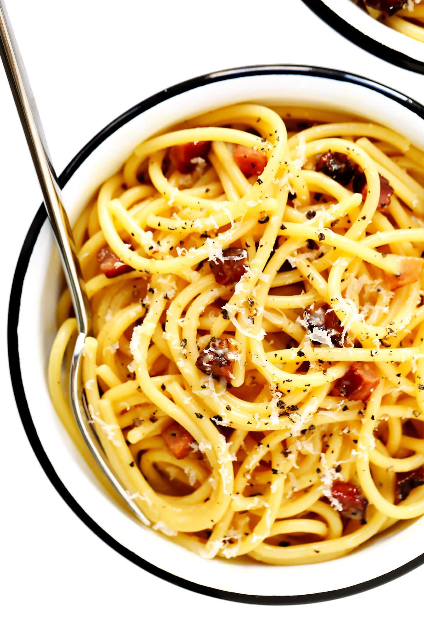 Spaghetti Carbonara in Serving Bowl with Parmesan