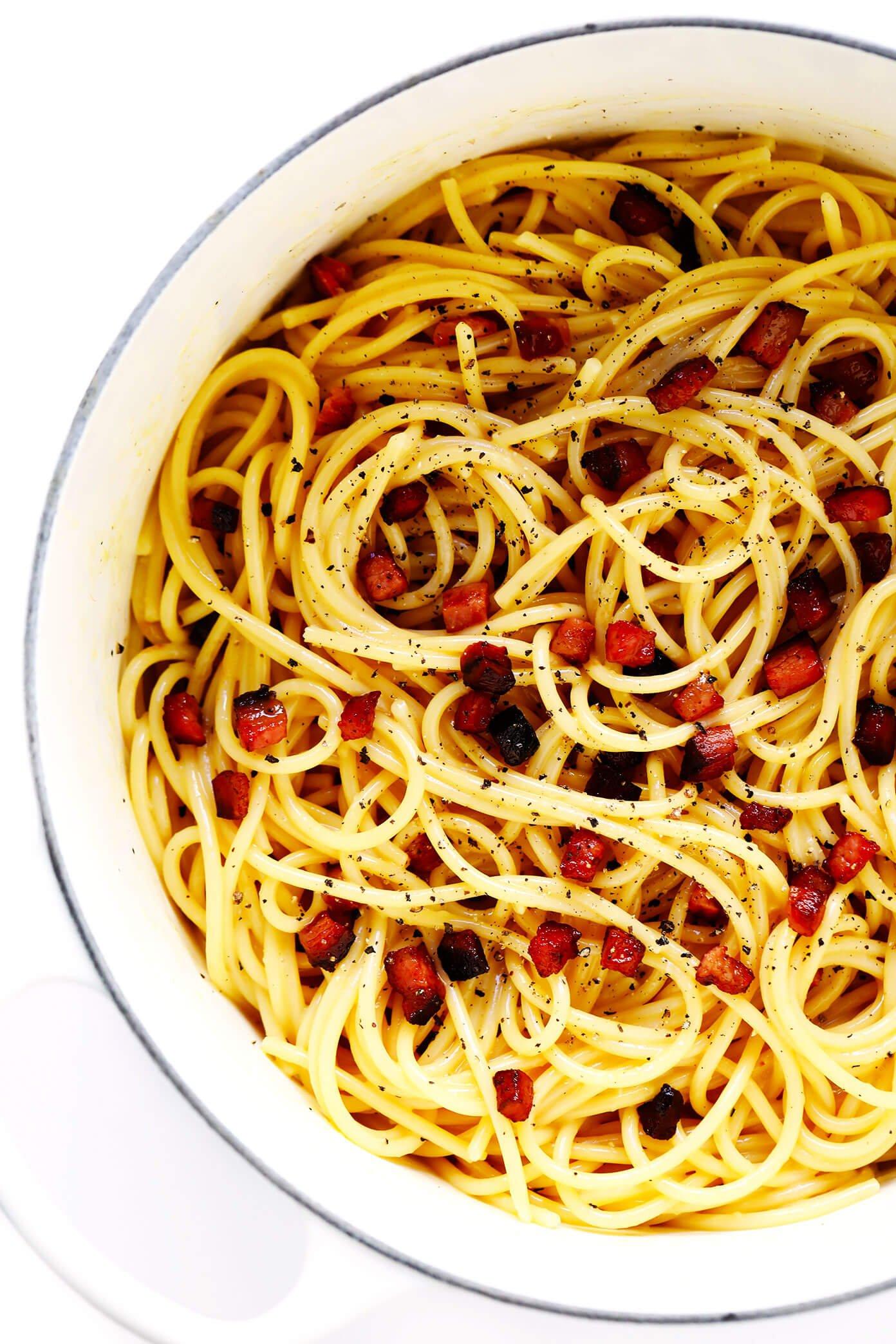 Large pot of spaghetti carbonara