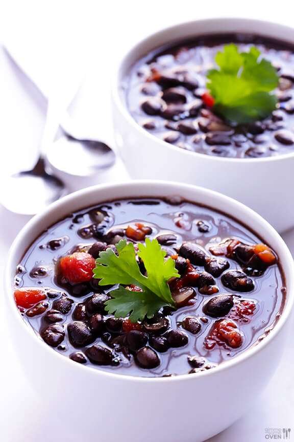 5 Ingredient Black Bean Soup Recipe -- just five simple ingredients, and this delicious soup is ready to go in 20 minutes! | gimmesomeoven.com