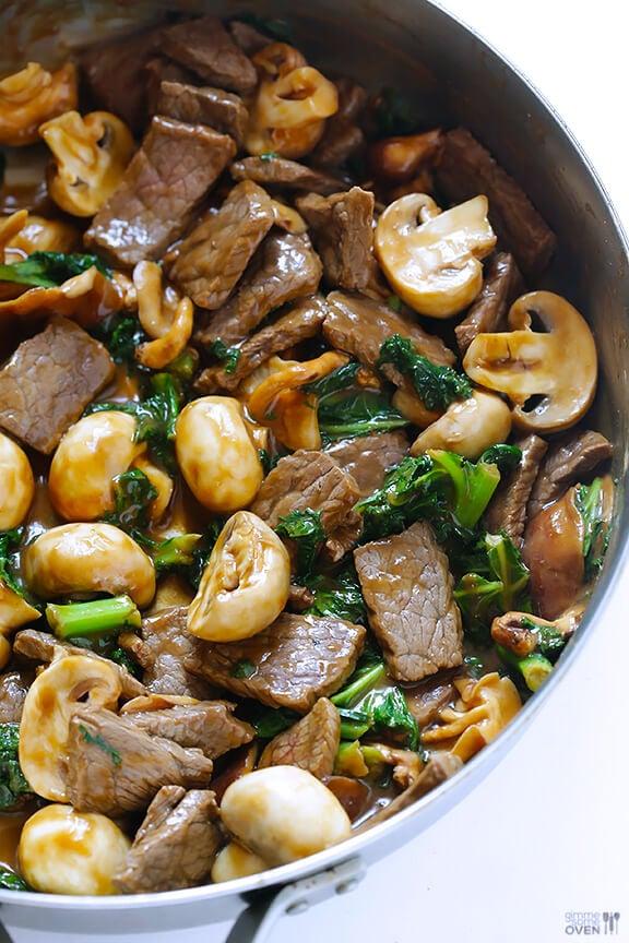 Ginger Beef, Mushroom & Kale Stir Fry | gimmesomeoven.com #glutenfree