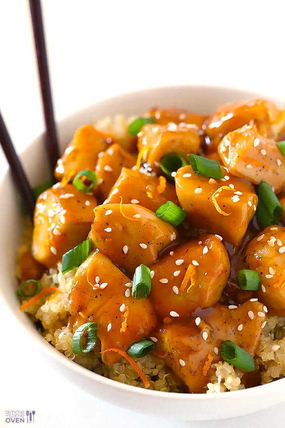 Skinny Orange Chicken Recipe | gimmesomeoven.com #newyears #chicken # ...