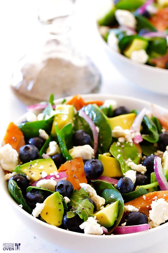 Spinach Salad with Salmon, Avocado and Blueberries | Gimme ...