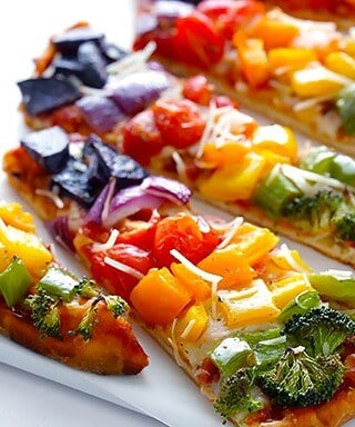 Rainbow Veggie Flatbread Pizza 1