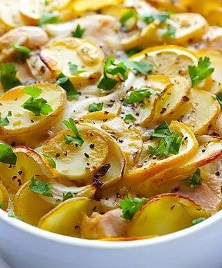 Easy Lemon Chicken Potato Casserole   gimmesomeoven.com