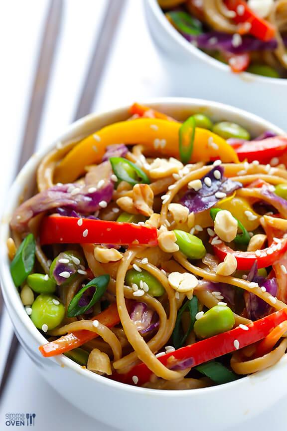 Rainbow Peanut Noodles | gimmesomeoven.com