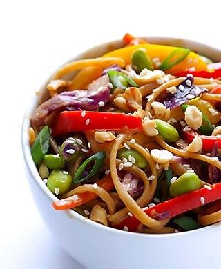 Rainbow Peanut Noodles   gimmesomeoven.com