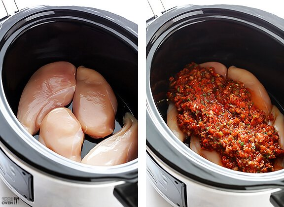 2-Ingredient Slow Cooker Salsa Chicken | gimmesomeoven.com