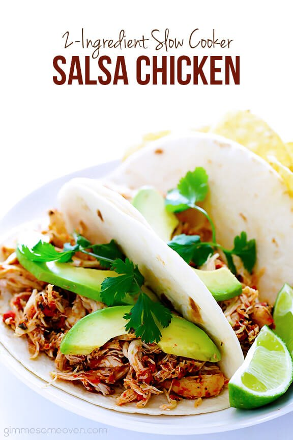 2-Ingredient Slow Cooker Salsa Chicken | gimmesomeoven.com