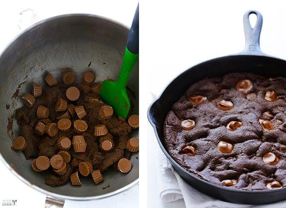 Chocolate Peanut Butter Skillet Cookie | gimmesomeoven.com #dessert