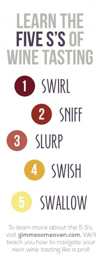 The 5 S's of Wine Tasting   gimmesomeoven.com #wine #winetasting
