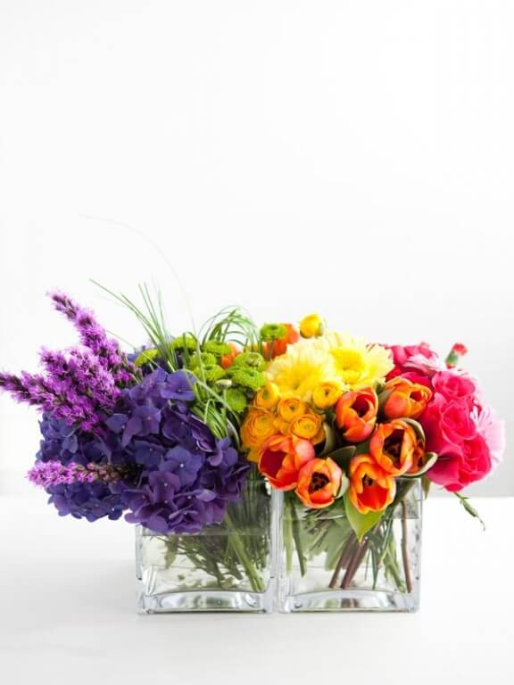 DIY Rainbow Floral Arrangement
