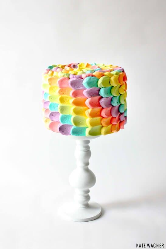 DIY Rainbow Petal Cake | thecakeblog.com