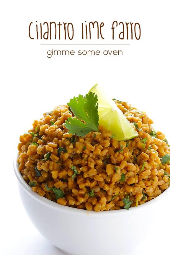 Cilantro Lime Farro | gimmesomeoven.com #vegan