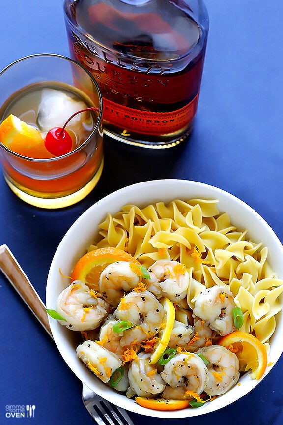 Bourbon Old Fashioned Shrimp -- an easy shrimp saute inspired by the ingredients in an Old Fashioned cocktail   gimmesomeoven.com #seafood