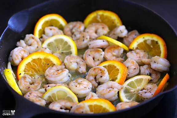 Bourbon Old Fashioned Shrimp -- an easy shrimp saute inspired by the ingredients in an Old Fashioned cocktail | gimmesomeoven.com #seafood