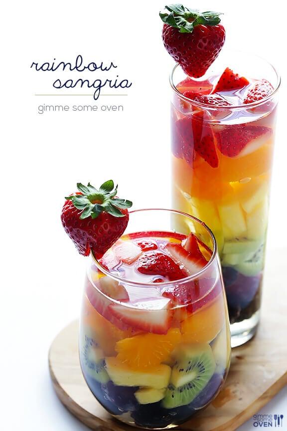 Easy Rainbow Sangria | gimmesomeoven.com #drink #vegan #glutenfree