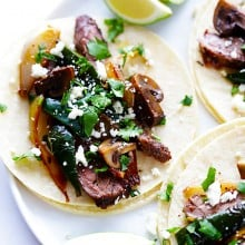 Steak, Poblano and Mushroom Tacos Recipe | gimmesomeoven.com #glutenfree #mexican