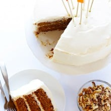 Vegan Gluten-Free Carrot Cake with (Vegan) Cream Cheese Frosting | gimmesomeoven.com #vegan #glutenfree #gf