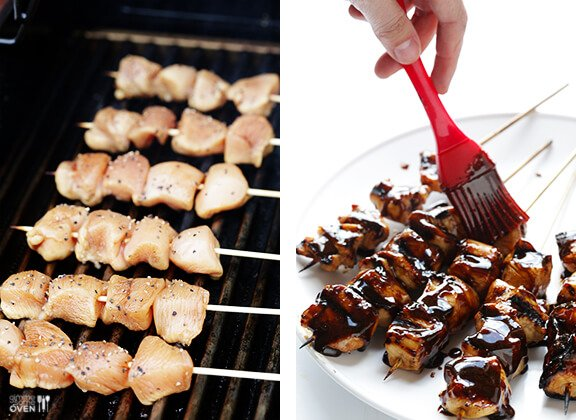 Easy Balsamic Chicken Skewers -- 4 ingredients, and perfectly sweet and savory!   gimmesomeoven.com