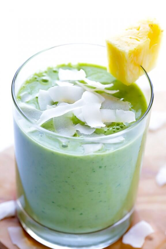 Green Pina Colada Smoothie | gimmesomeoven.com #healthy #vegan #glutenfree #recipe
