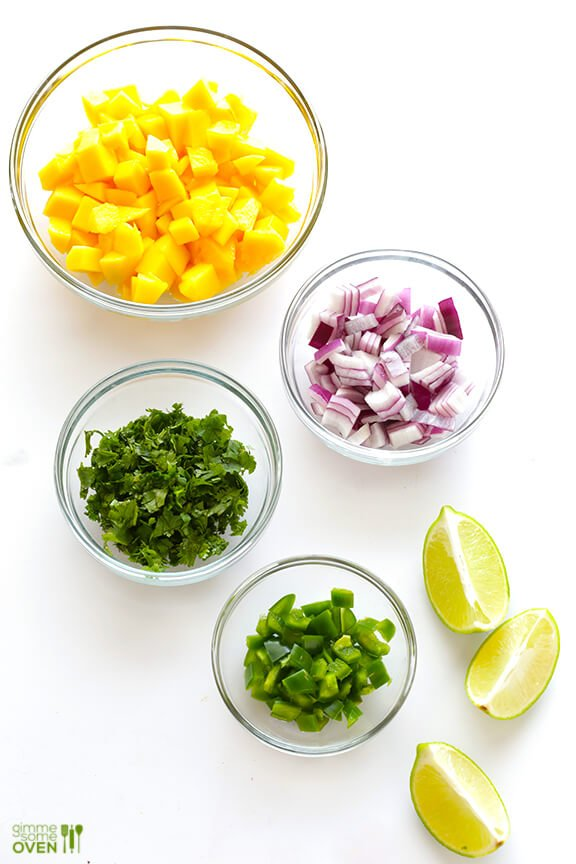 Mango Salsa Ingredients | Mango, Red Onion, Cilantro, Lime, Jalapeno
