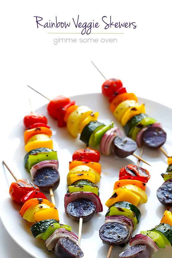 Rainbow Veggie Skewers | gimmesomeoven.com #vegan #glutenfree #recipe